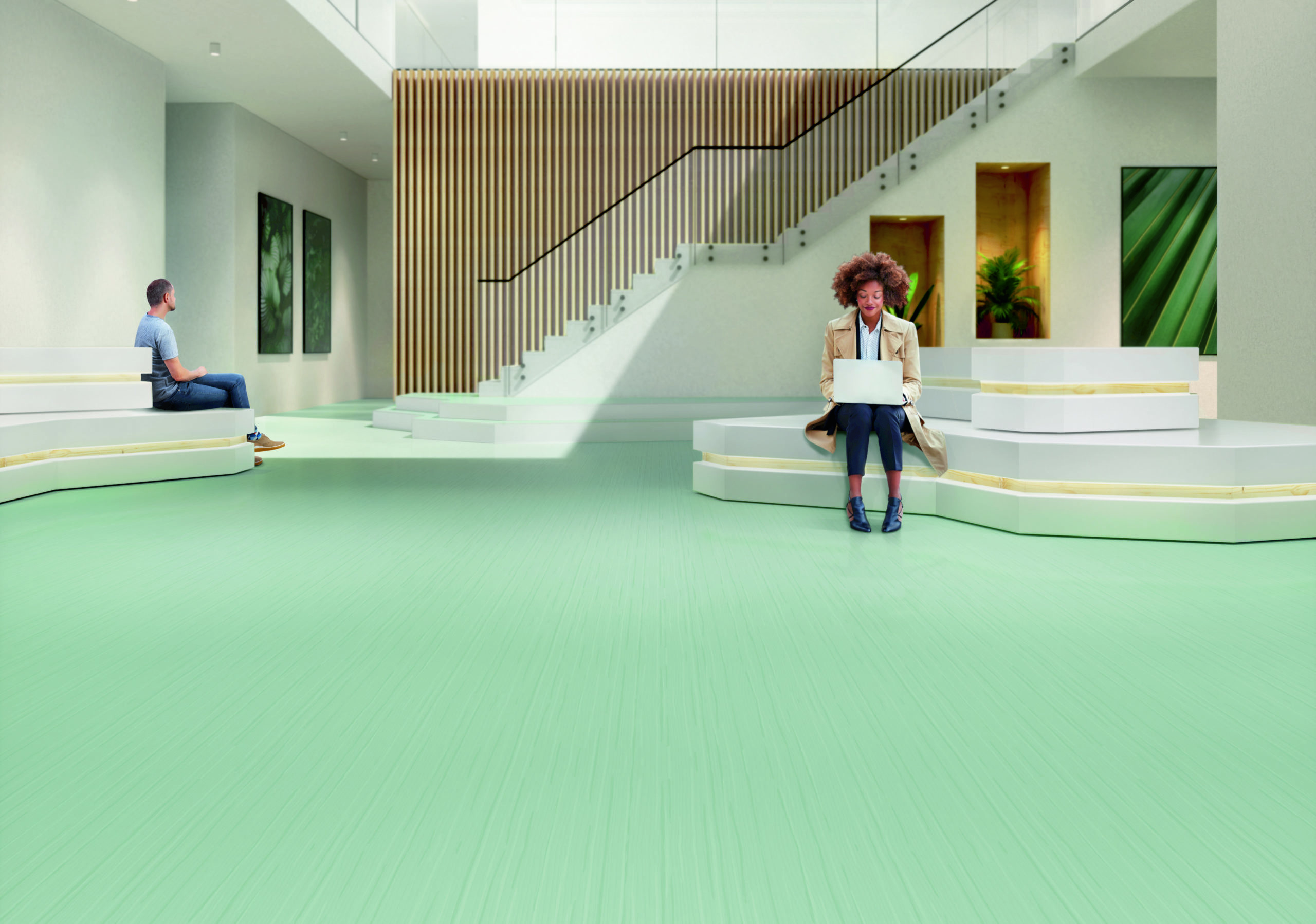 LINEAR DESIGN OF NEW NORA RUBBER FLOORING ADDS ATMOSPHERE AND SPACE